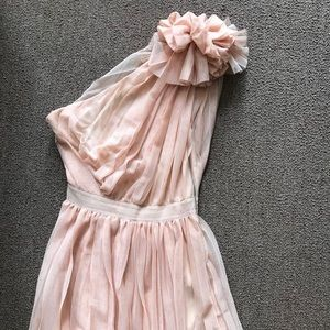 Blush one-shoulder cocktail dress